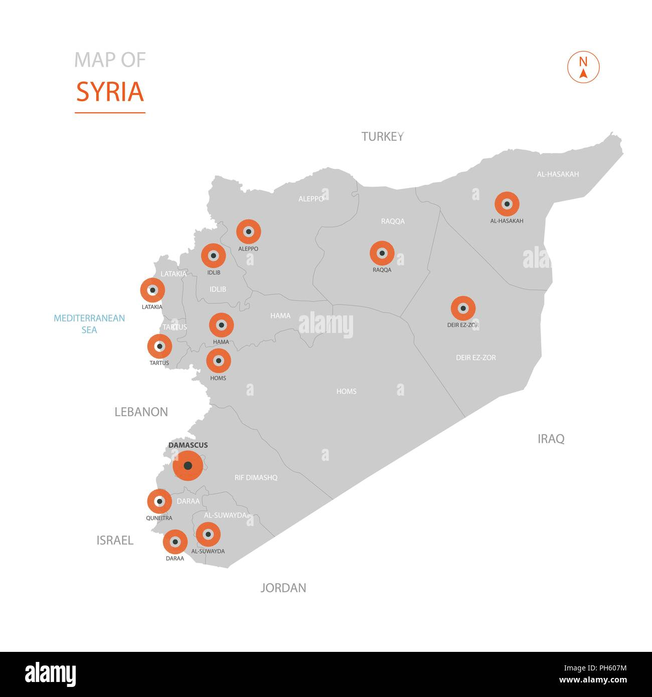 Syrien Karte Mit Städten.Stylized Vector Syrien Karte Der Großen Städte Die Hauptstadt