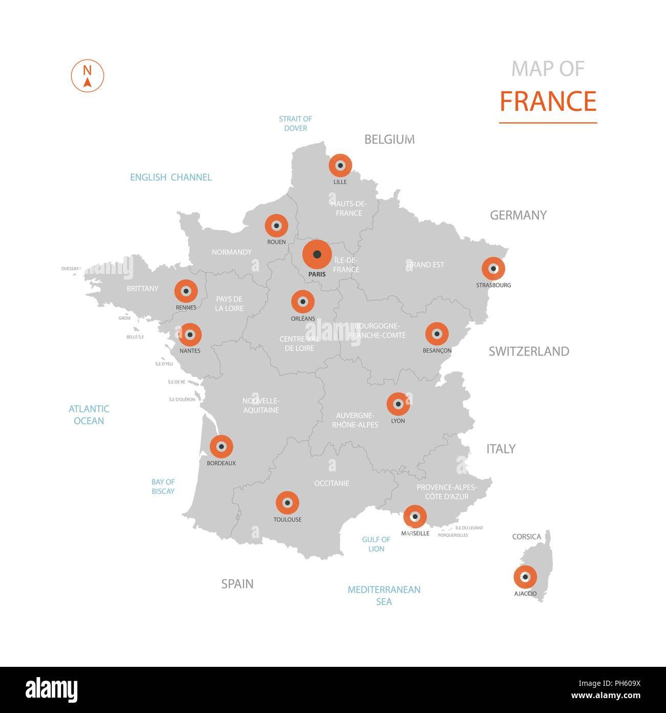 Frankreich Karte Stadte.Stylized Vector Frankreich Karte Der Grossen Stadte Die