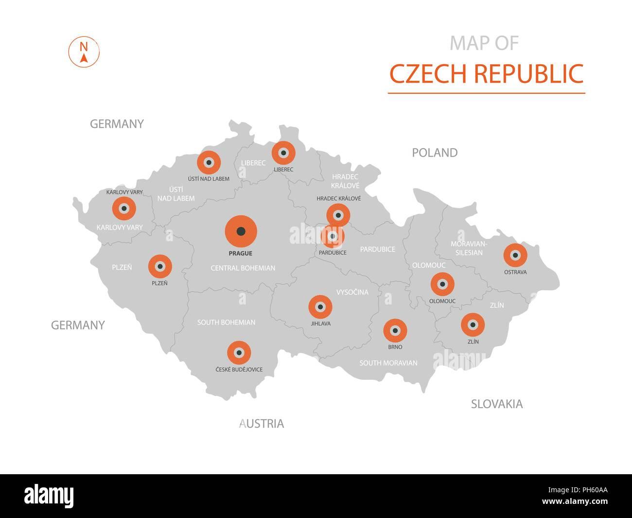 Prag Karte Tschechien.Stylized Vector Tschechische Republik Karte Der Großen Städte Die