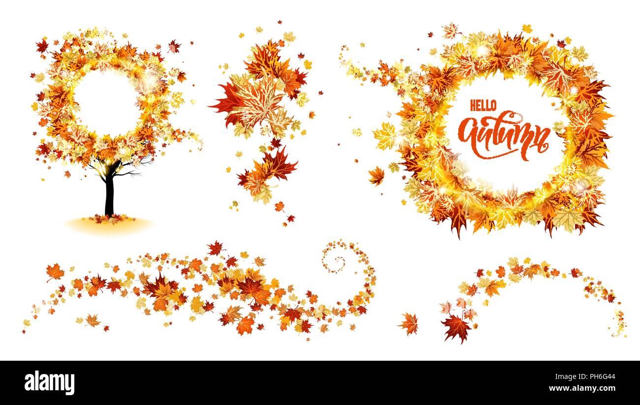 Herbst Natur Design Elemente Baum Ast Mit Blatter Herbst Dekor Ahornblatter Design Stock Vektorgrafik Alamy