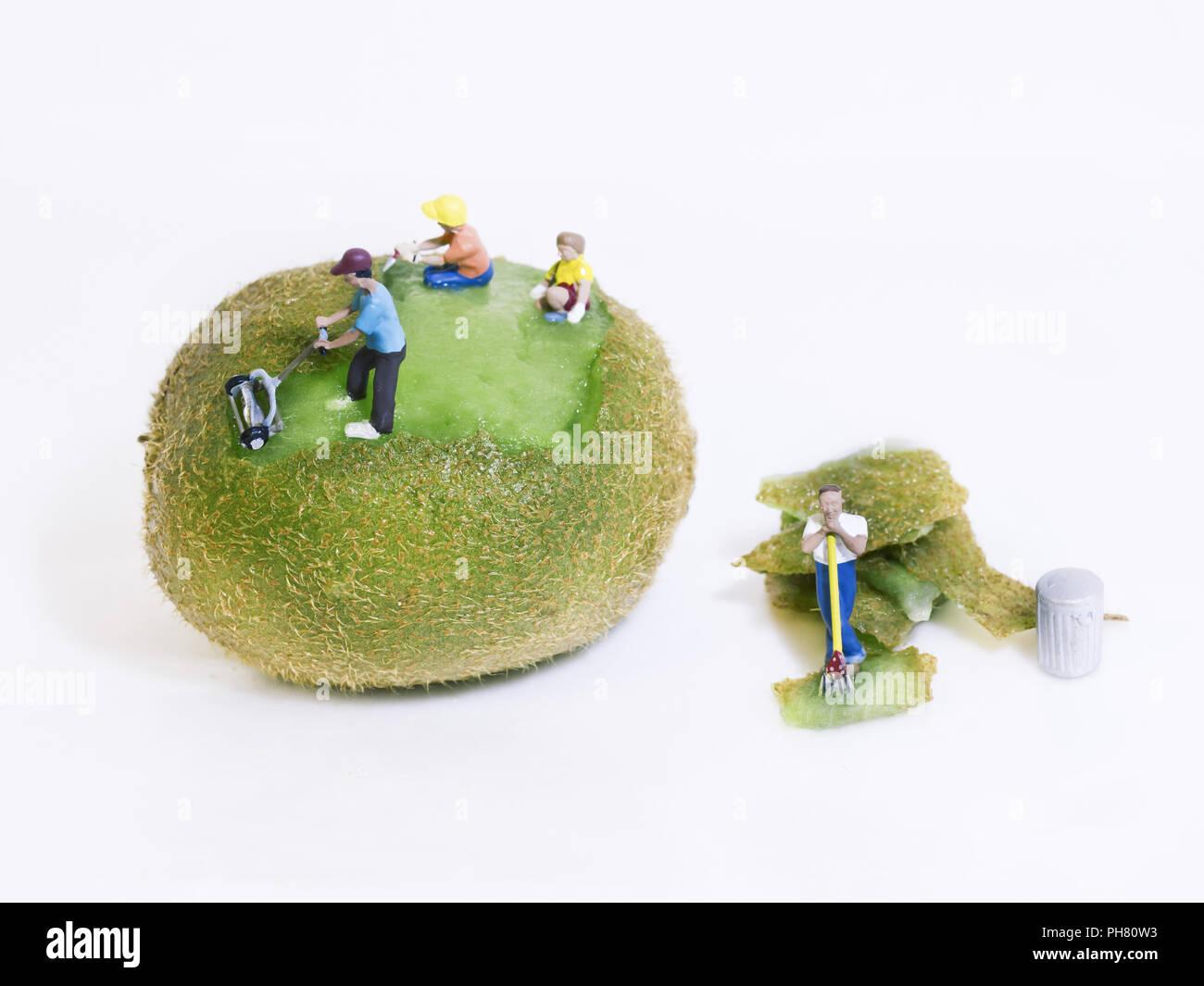 Lustiges Foto Von Figuren Menschen Rasen Mahen Kiwi Essen Lustig
