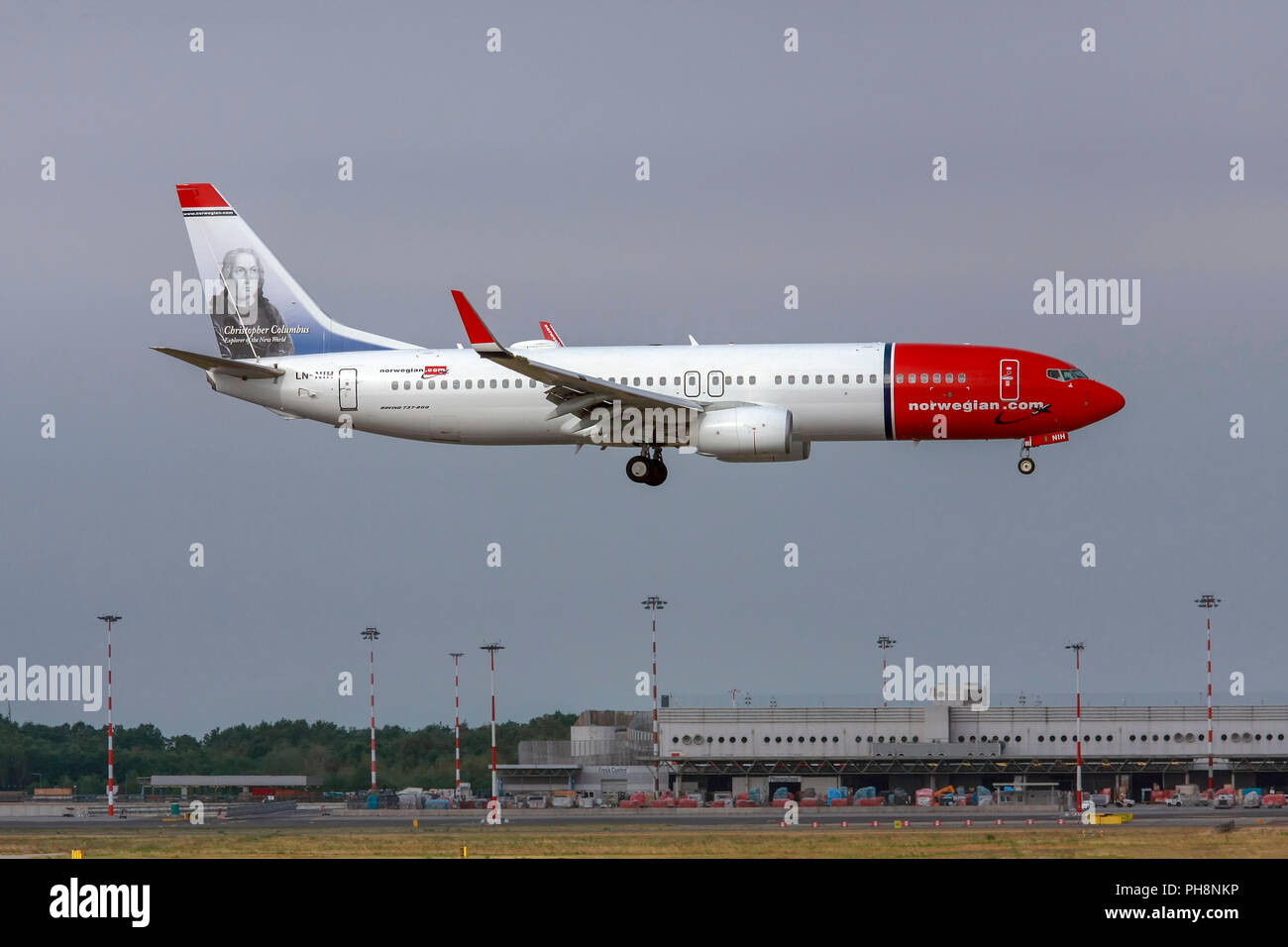 LN-NIH Norwegian Air Shuttle Boeing 737-800 in Malpensa (MXP/LIMC), Mailand, Italien Stockbild