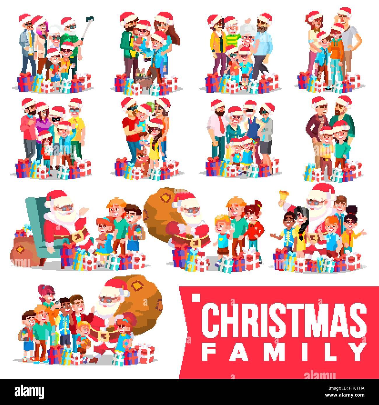 Eltern Geschenke Weihnachten.Weihnachten Familie Portrait Set Vektor Volle Glückliche Familie