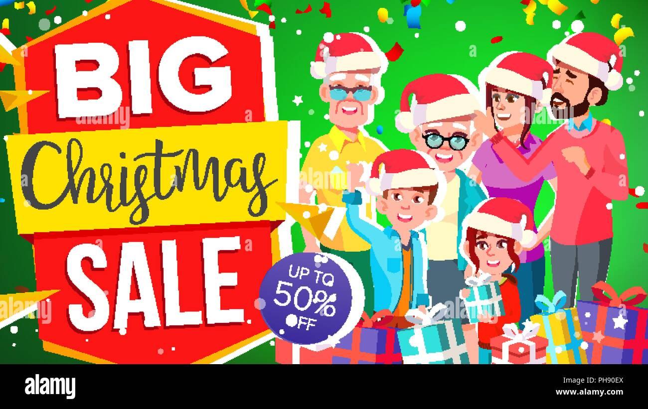Weihnachten Verkauf Banner Vektor. Super Sale Flyer. Rabatt bis zu ...
