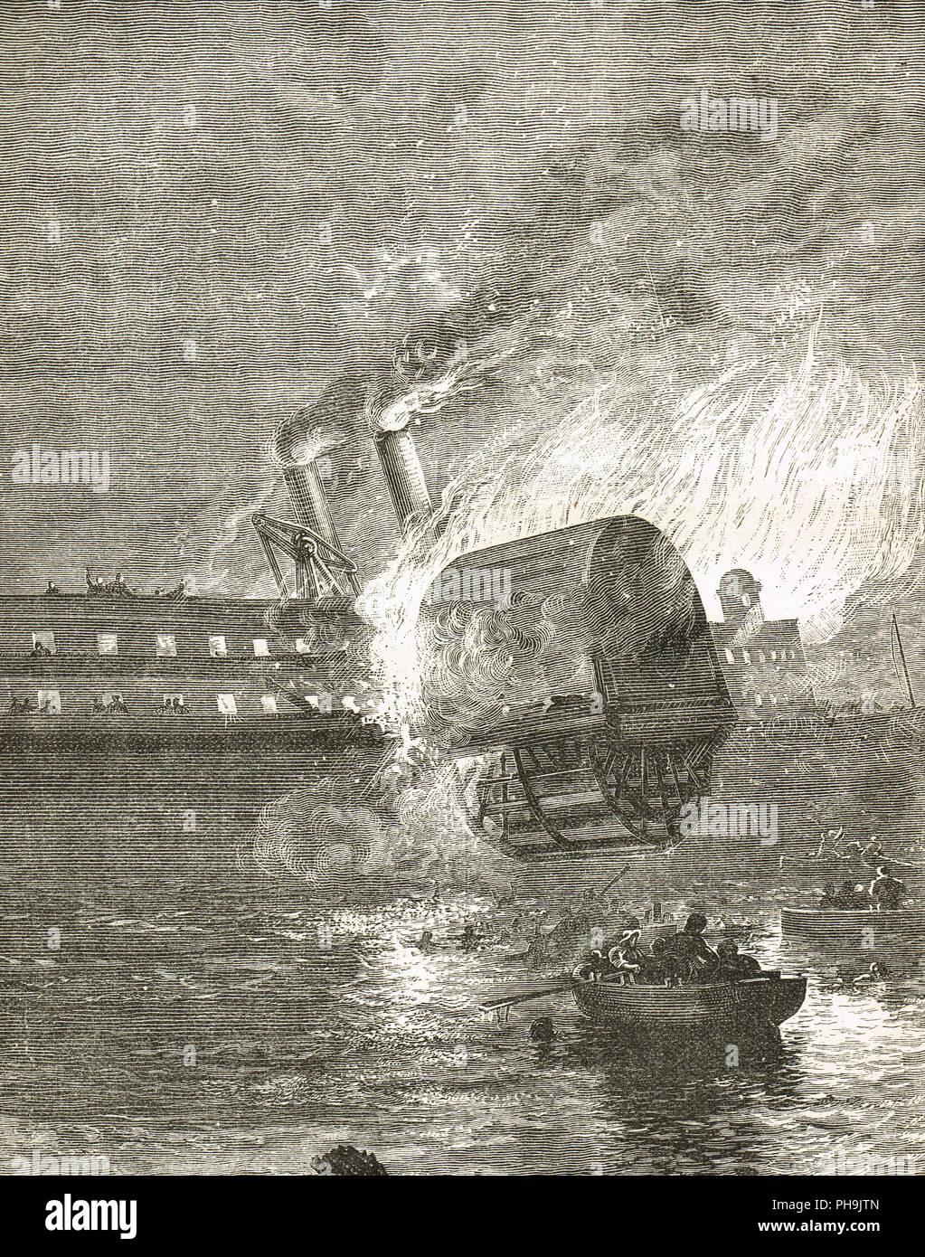 Der steamboat Erie auf Feuer, den 9. August 1841, später umbenannt in Jersey in der anonymen Prosa Skizze, der Steuermann des Lake Erie berechtigt Stockbild