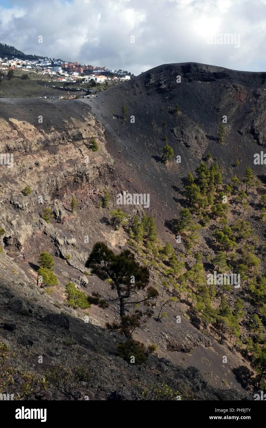 Vulkan Krater San Antonio, Los Canarios, La Palma Stockbild