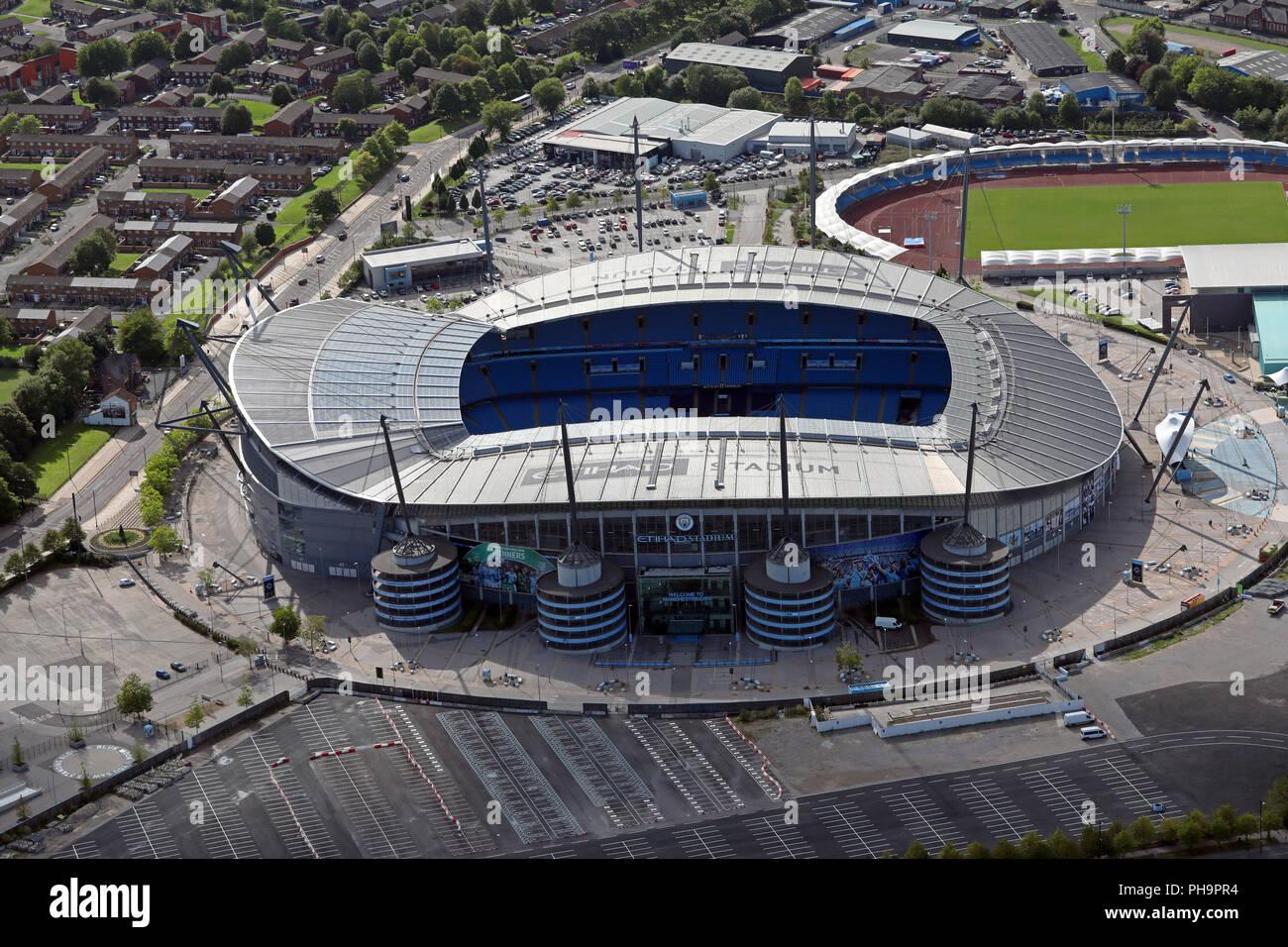 Luftaufnahme von Manchester City FC Etihad Stadium Stockfoto