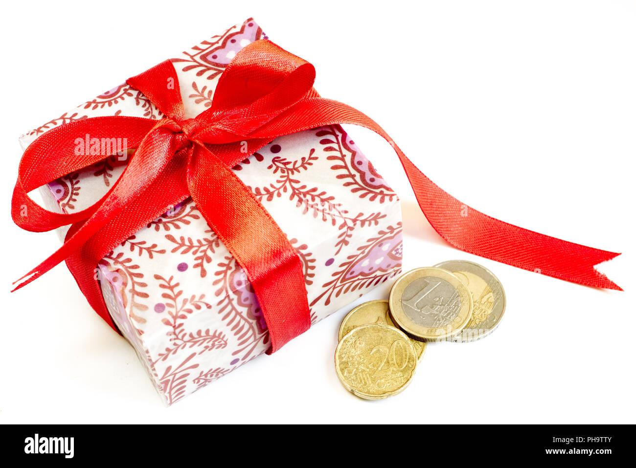 Weihnachten Geschenk Euro Münzen Stockfoto Bild 217190651 Alamy
