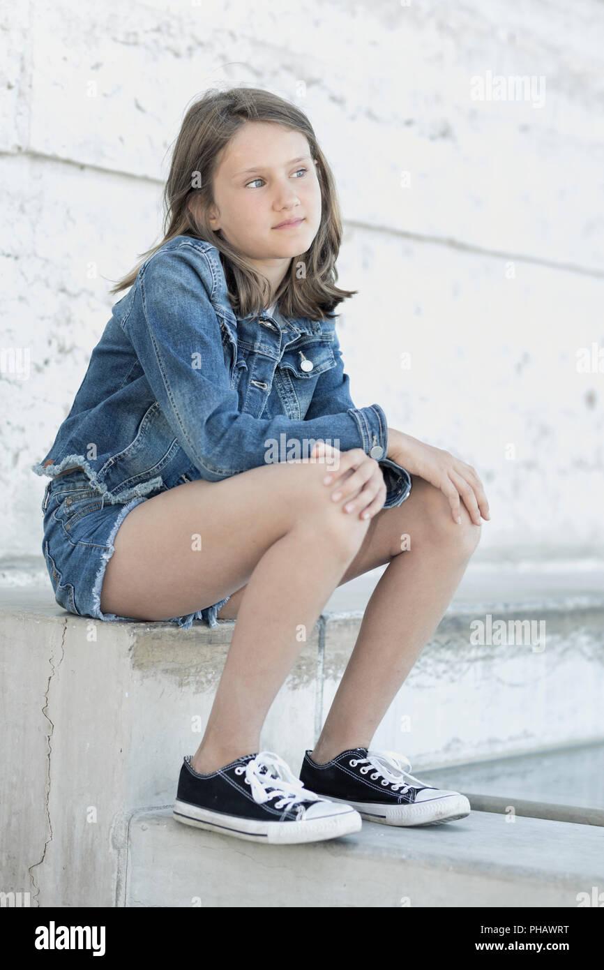 Portrait von schönen Mädchen 10-11 Jahre alt Stockbild