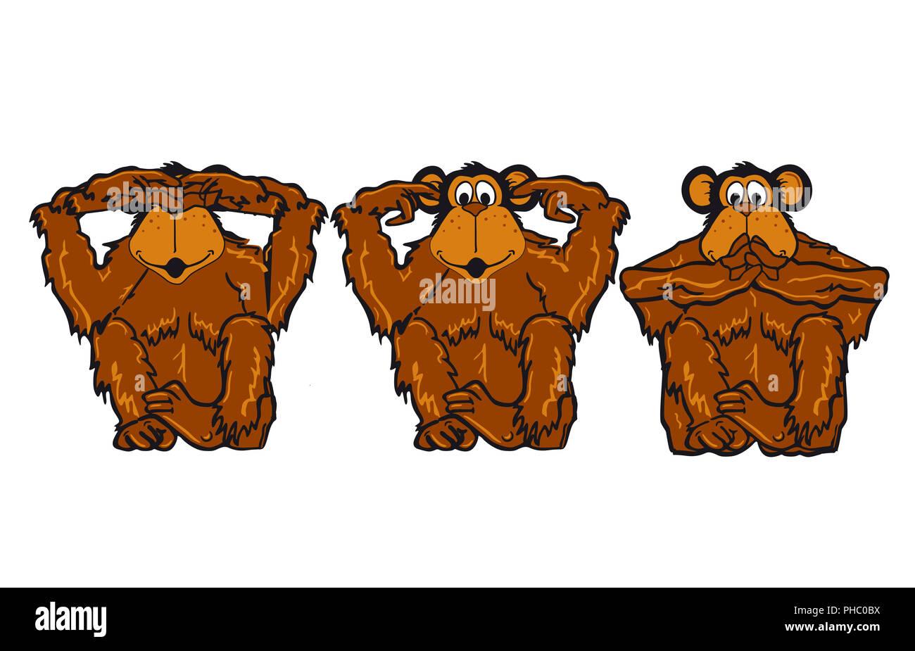 Drei Affen Nicht Sehen Hören Sagen Stockfoto Bild