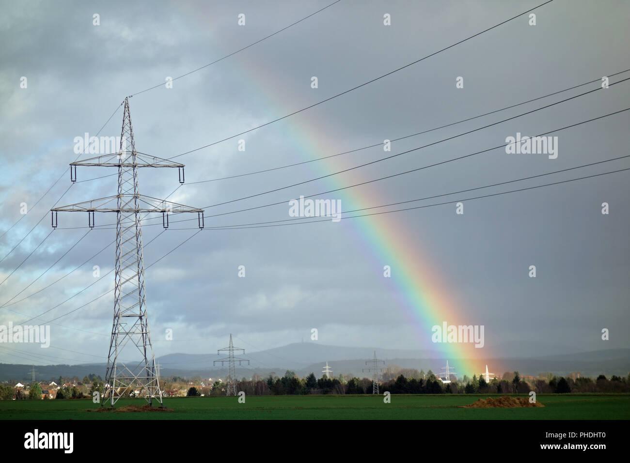 Strom Netzwerk mit einem Regenbogen Stockbild