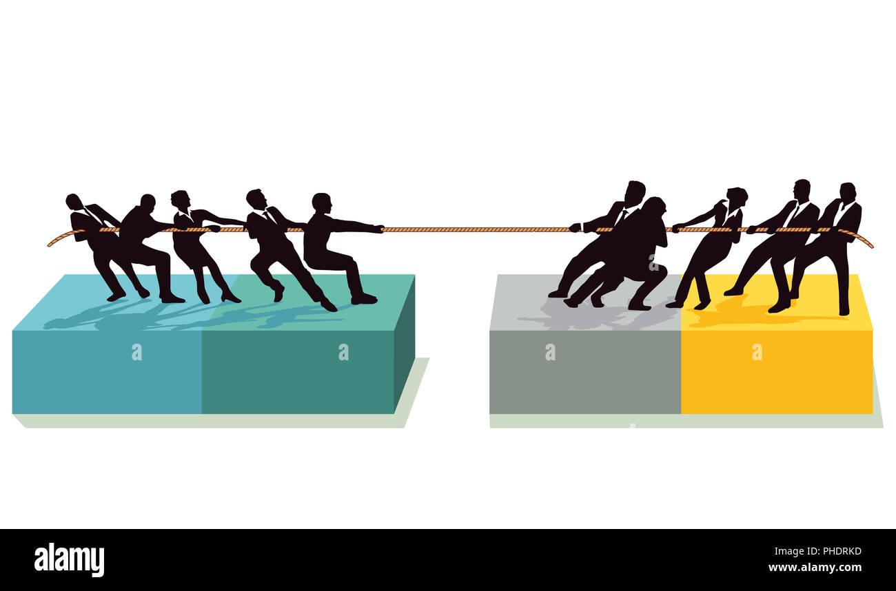 Tauziehen mit der Konkurrenz Stockbild