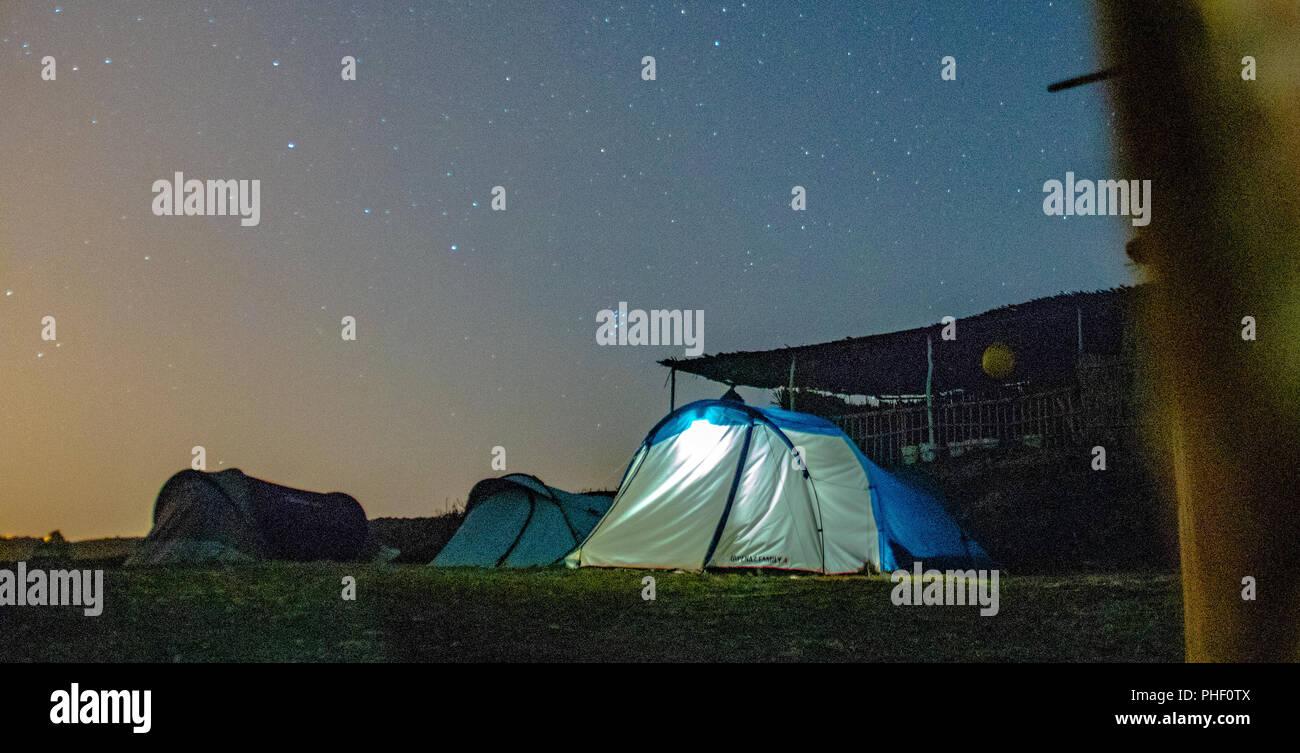 Camp Mrissat Astrofotografie lange Belichtung Stockbild