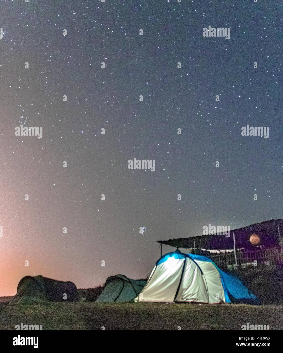 Camp Mrissat Astrofotografie Stockbild