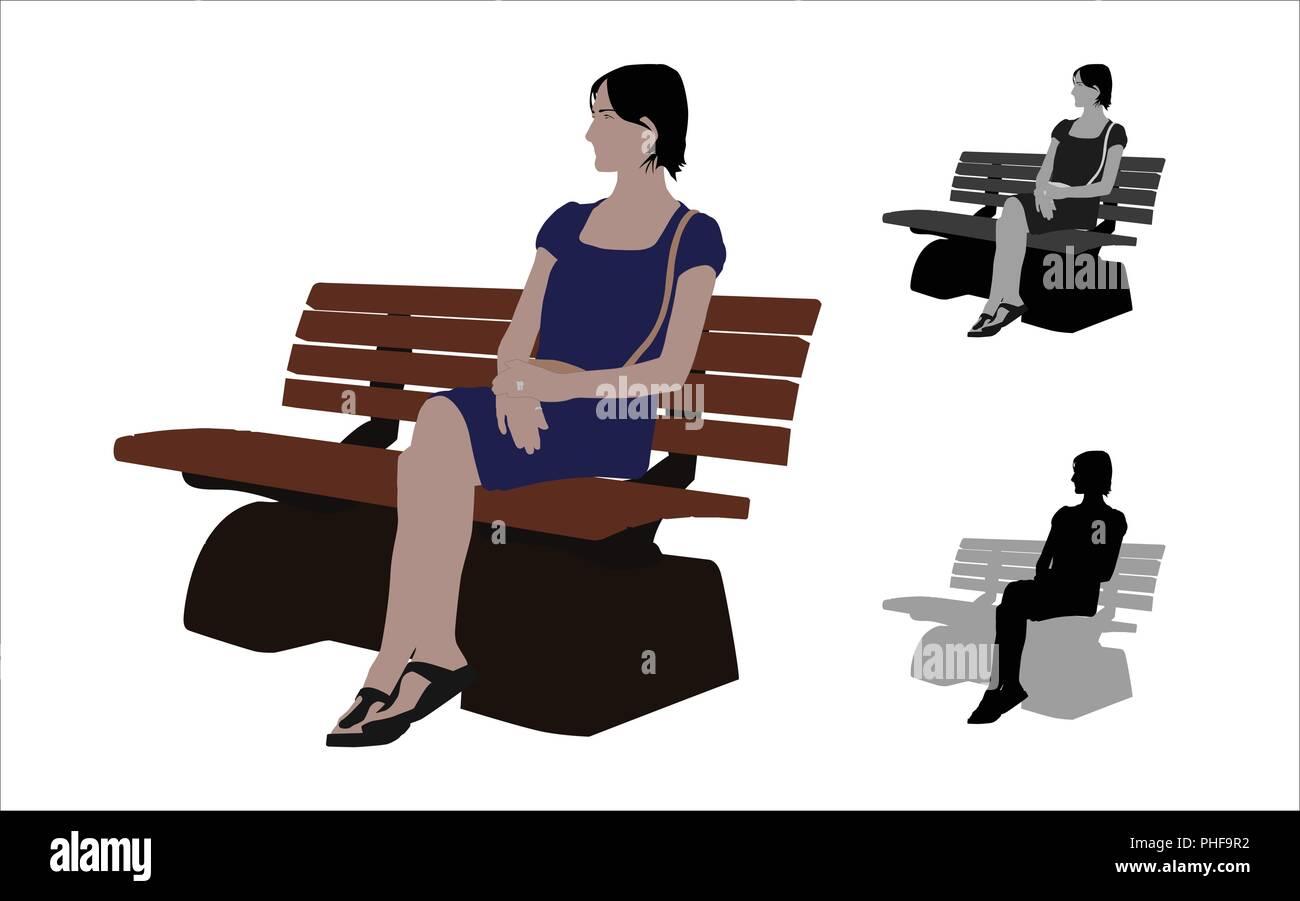 Realistische flache farbige Darstellung eines lockeren Frau sitzt eine Bank im Park Stockbild