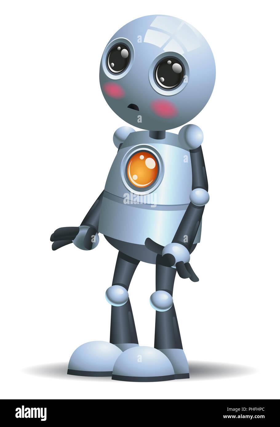 Abbildung eines kleinen Roboter Gefühle schämen auf isolierten weißen Hintergrund Stockbild