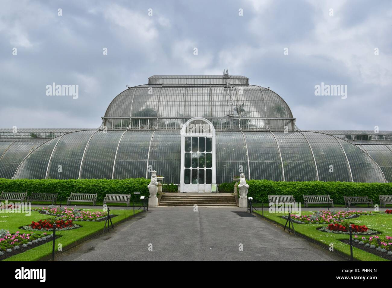 Ein Blick auf die Königlichen Botanischen Gärten in Kew, London, Vereinigtes Königreich Stockbild