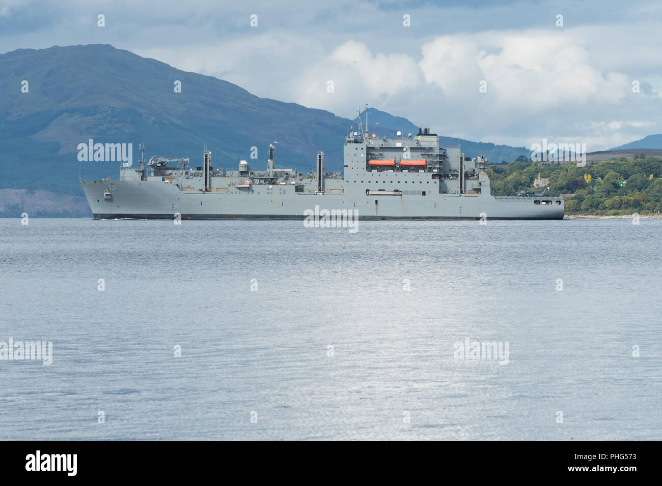 USNS Medgar Evers (T-AKE-13) United States Navy Lewis und Clark Klasse trockene Frachtschiff der Firth of Clyde, Schottland, Großbritannien Stockbild