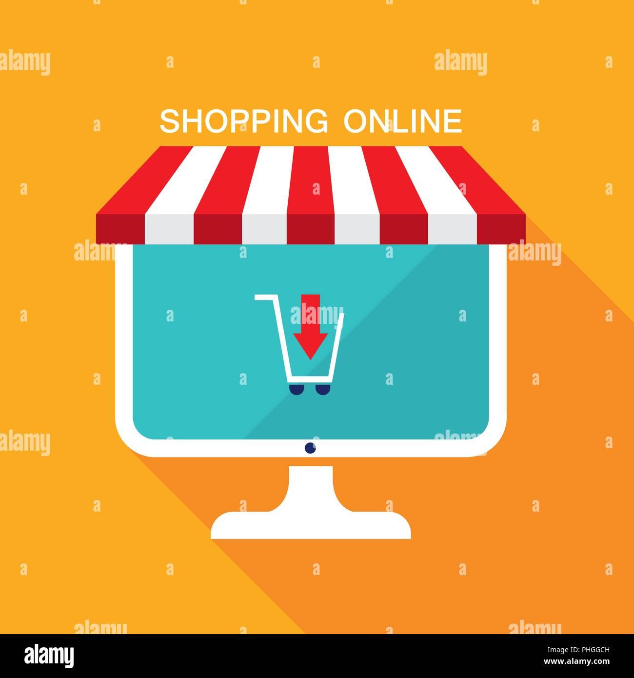 E-Commerce-Geschäft Konzept. Online Shop, Verkauf, Produkte kaufen. Stock Vektor