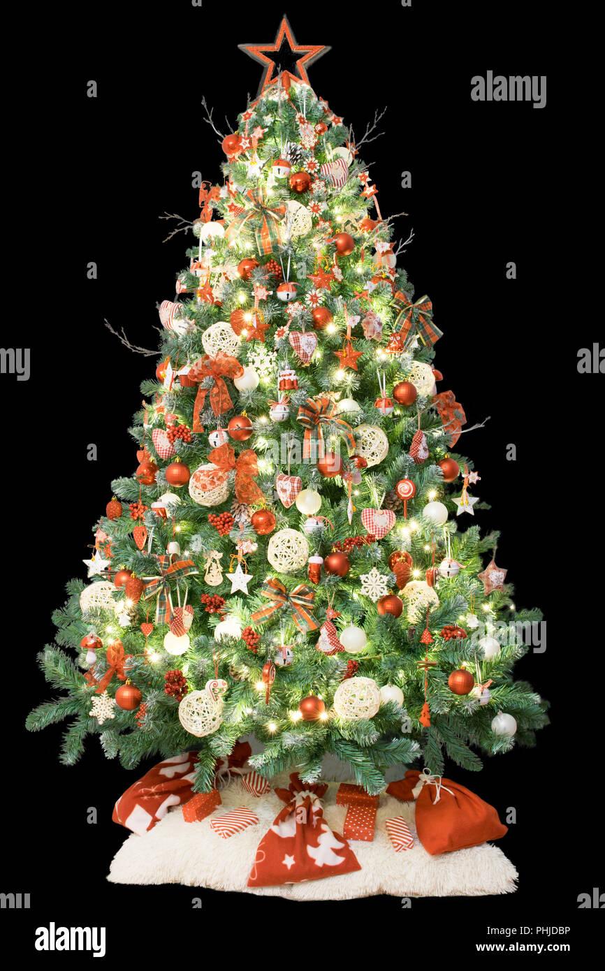 Moderner Weihnachtsbaum.Moderne Weihnachtsbaum Mit Weinleseverzierungen Lichter Und