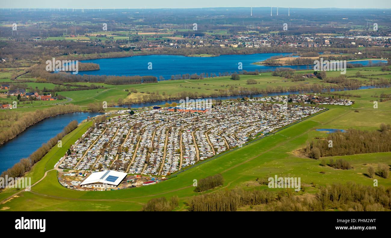 Campingplatz Grav - insel GmbH & Co. KG, 2000 Plätze und Deutschlands größter Campingplatz in Wesel in Nordrhein-westfalen. Wesel, Rheinland, Hansestadt, Niederrhein, Nort Stockbild