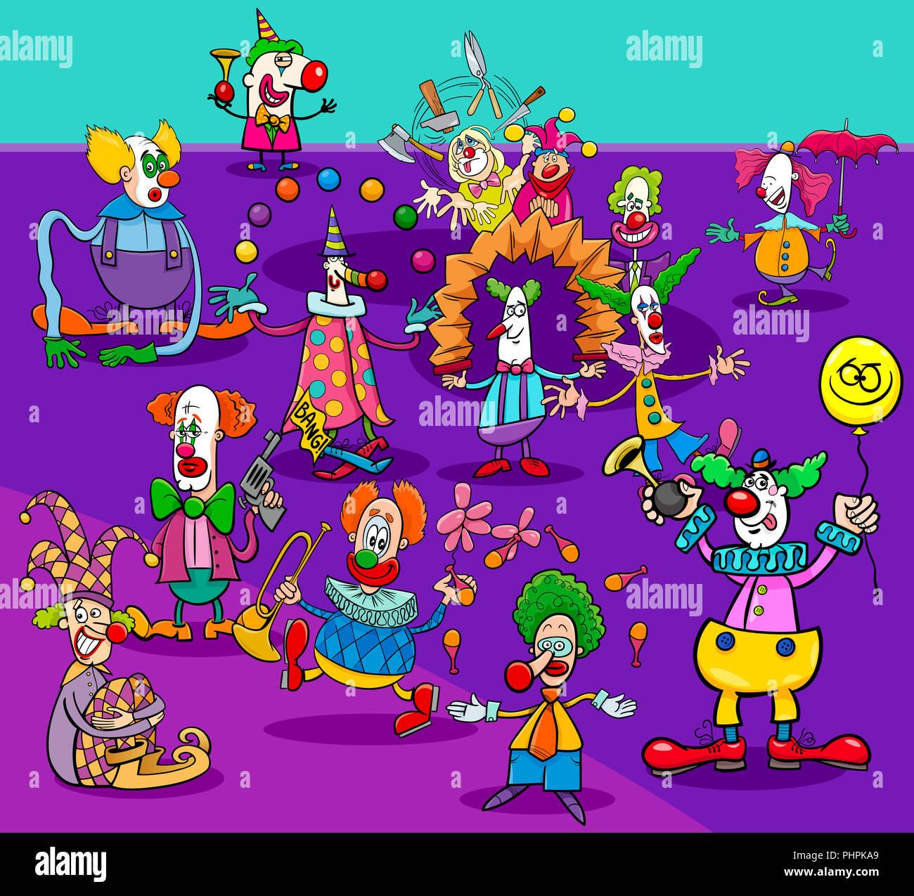 Lustig Zirkus Clowns Zeichentrickfiguren Gruppe Stockfoto Bild