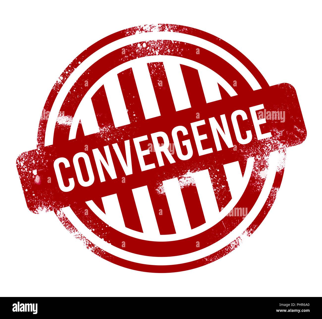 Konvergenz - Rot grunge-Taste, Stempel Stockbild