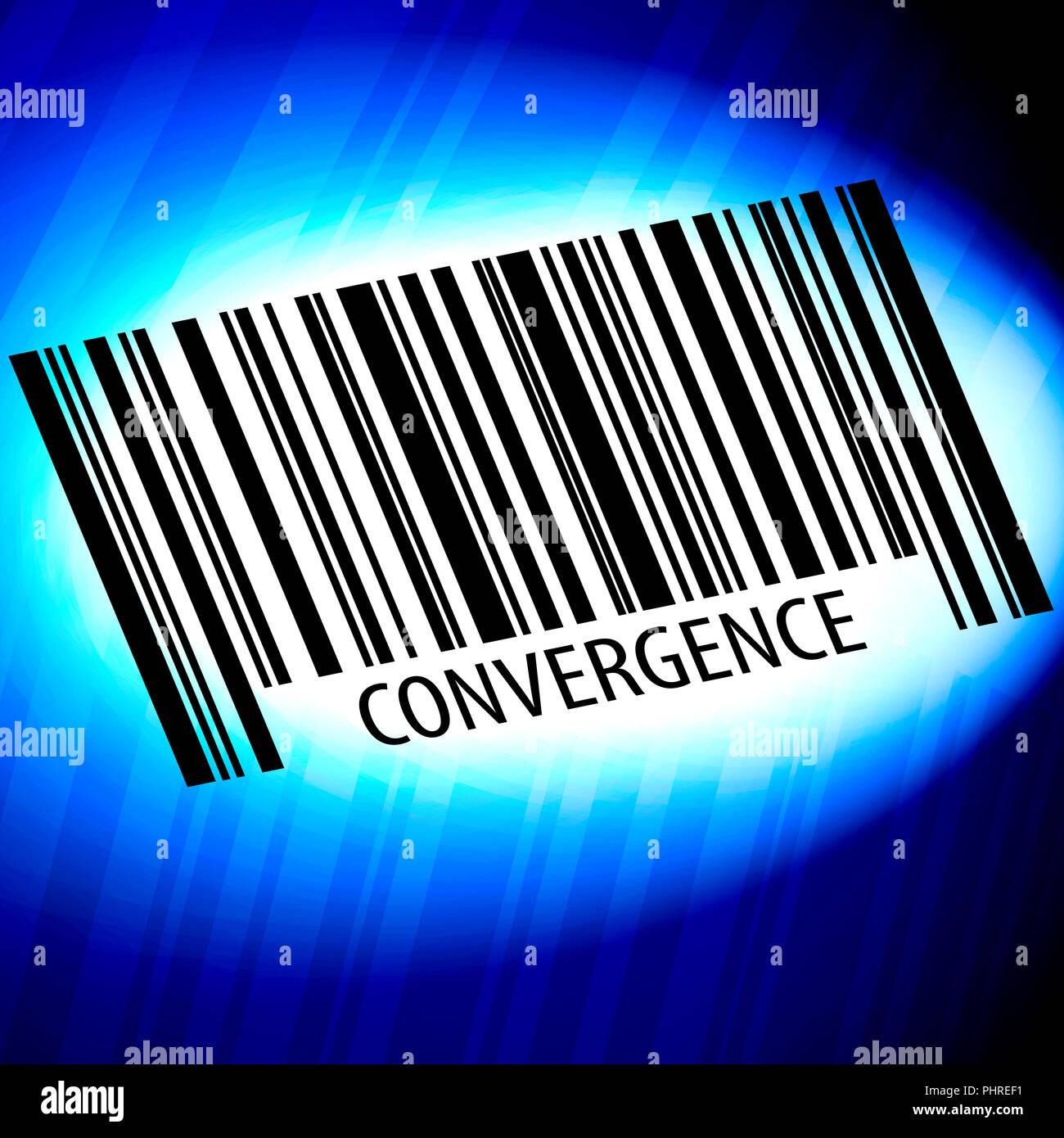Konvergenz - Barcode mit blauem Hintergrund Stockbild
