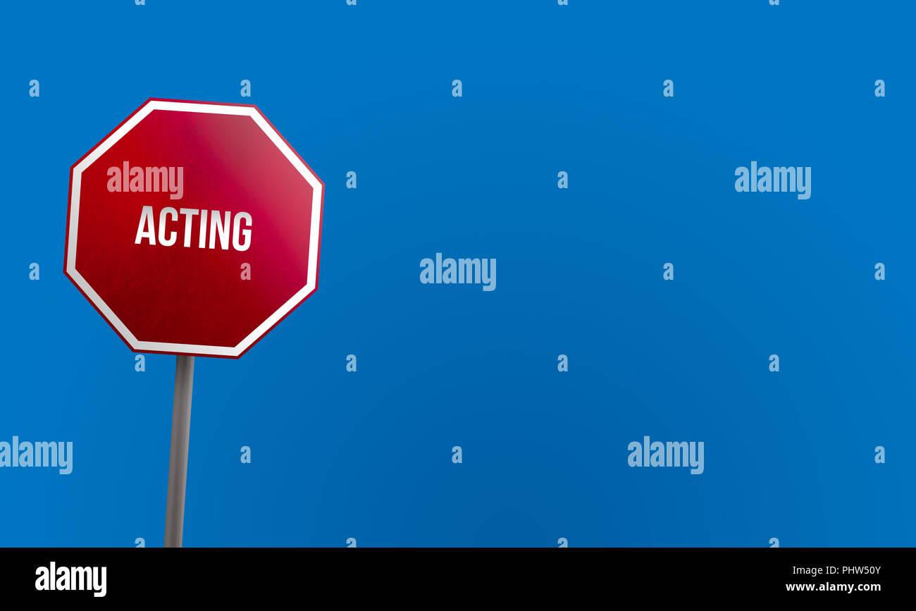 Handeln - rotes Schild mit blauem Himmel Stockbild