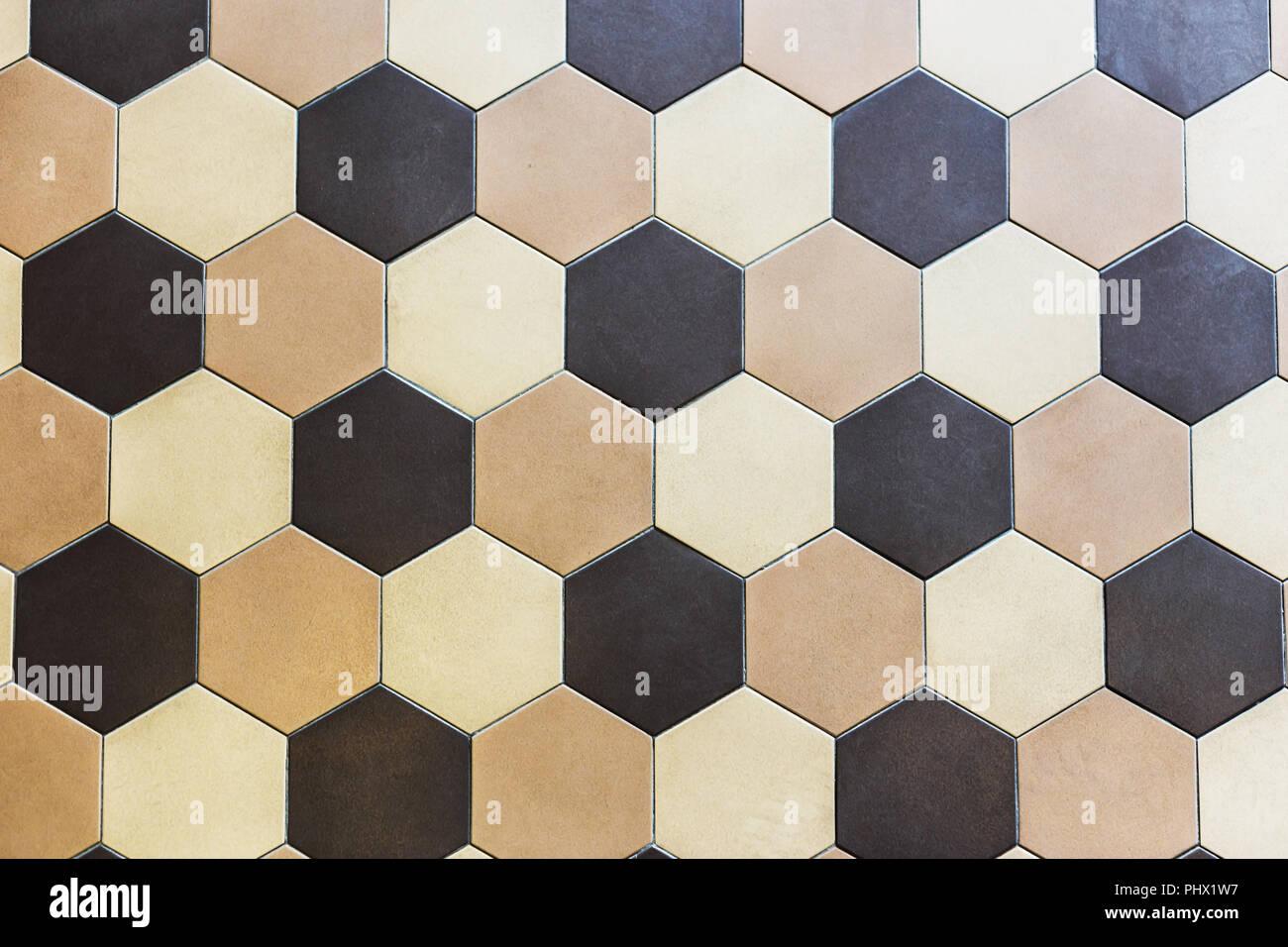 Bunter Marmor Hexagon Fliesen. Beige Und Braun
