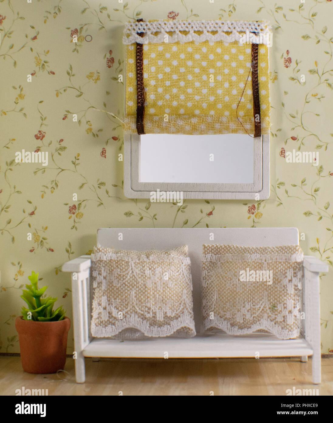 Handgefertigte Vintage Style Zimmer Mit Einem Gelben Muster Tapete