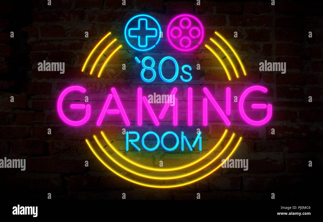 Turbo Spielsaal 80s Retro neon 3d-Abbildung. Elektrische Symbol und ZA25