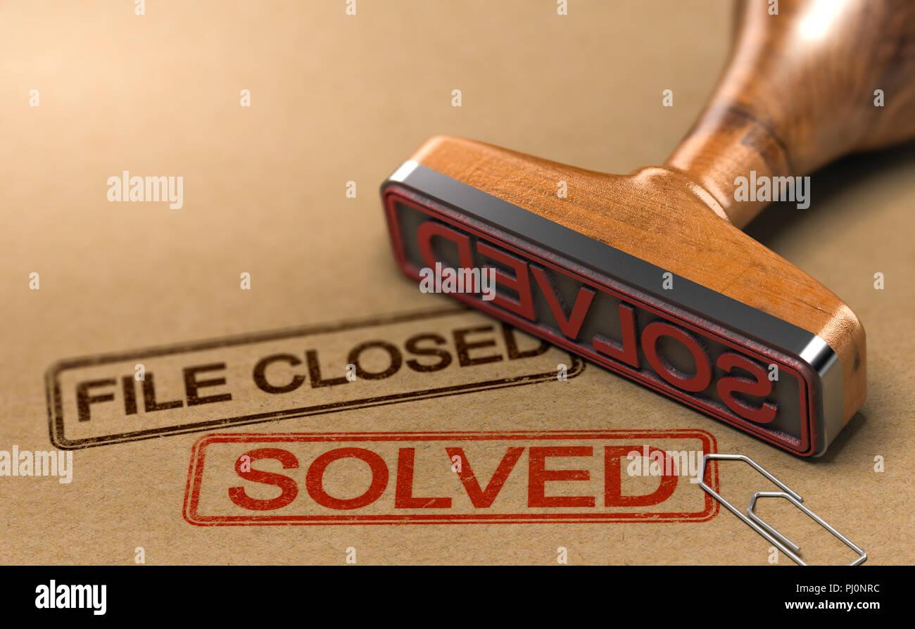 3D-Darstellung einer Untersuchung Datei mit einem Stempel und die Wörter, die Datei geschlossen und gelöst. Konzept für erfolgreiche Ermittlungsarbeit der Polizei Stockbild