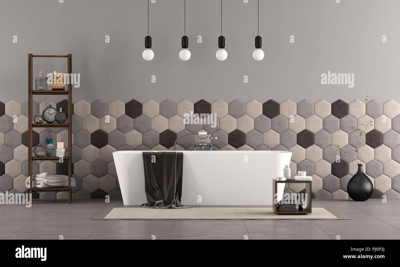 Badezimmer Mit Modernen Bad Mit Badewanne Sechseckige Fliesen Und