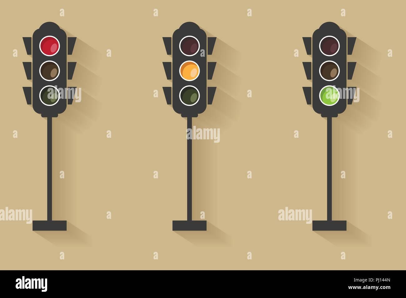 Ampel Lichtsignal Mit Rot Gelb Und Grun Flache Bauform Und