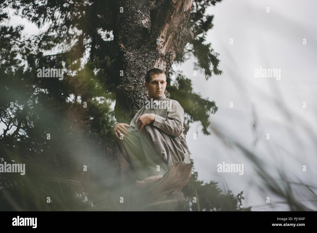 Man bewegt sich in der Natur Wald Stockbild
