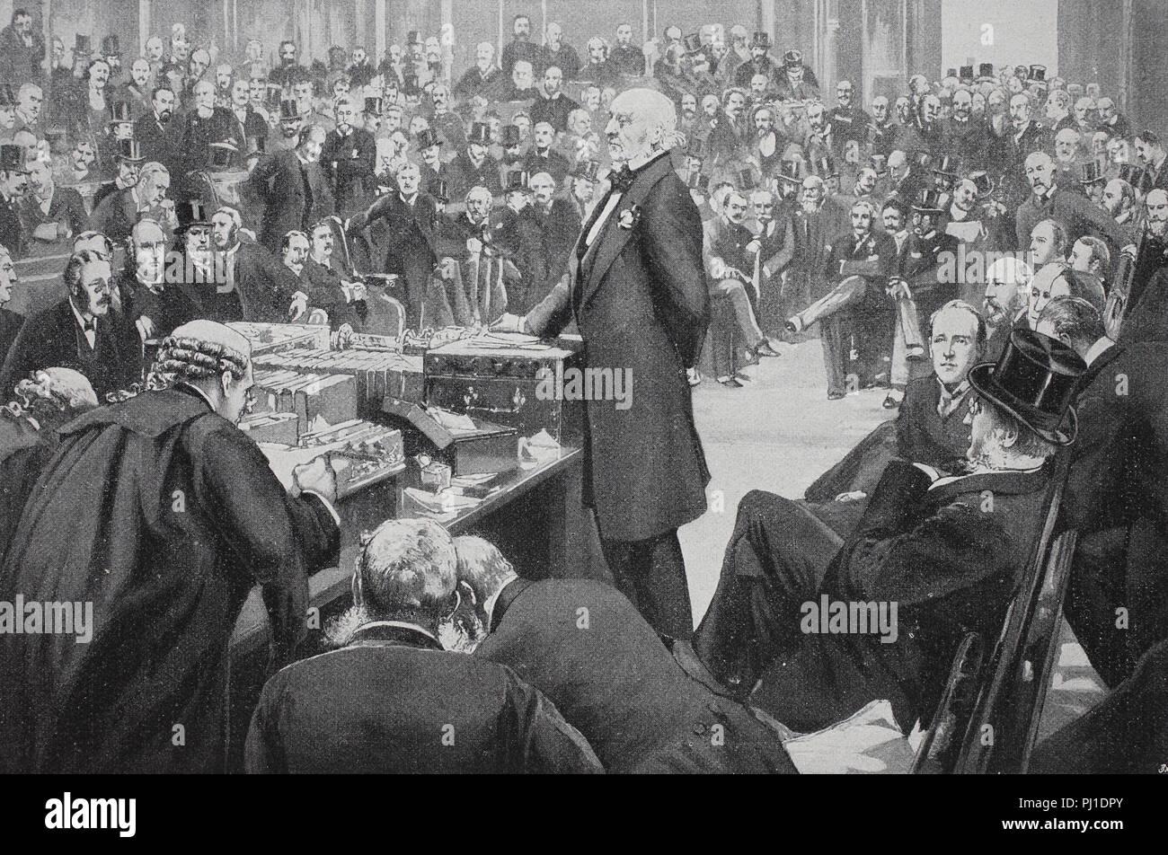 William Ewart Gladstone,, 29. Dezember 1809. - 19. Mai 1898, englischer Staatsmann, präsentiert die Home-Rule-Rechnung auf das englische Unterhaus, digital verbesserte Reproduktion eines woodprint aus dem Jahr 1890 Stockbild
