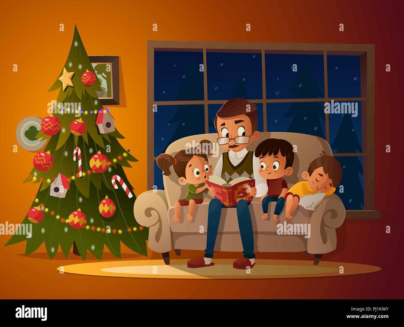 Der Weihnachtsbaum Geschichte.Großvater Mit Enkel Auf Einem Gemütlichen Sofa Mit Dem Buch In Der