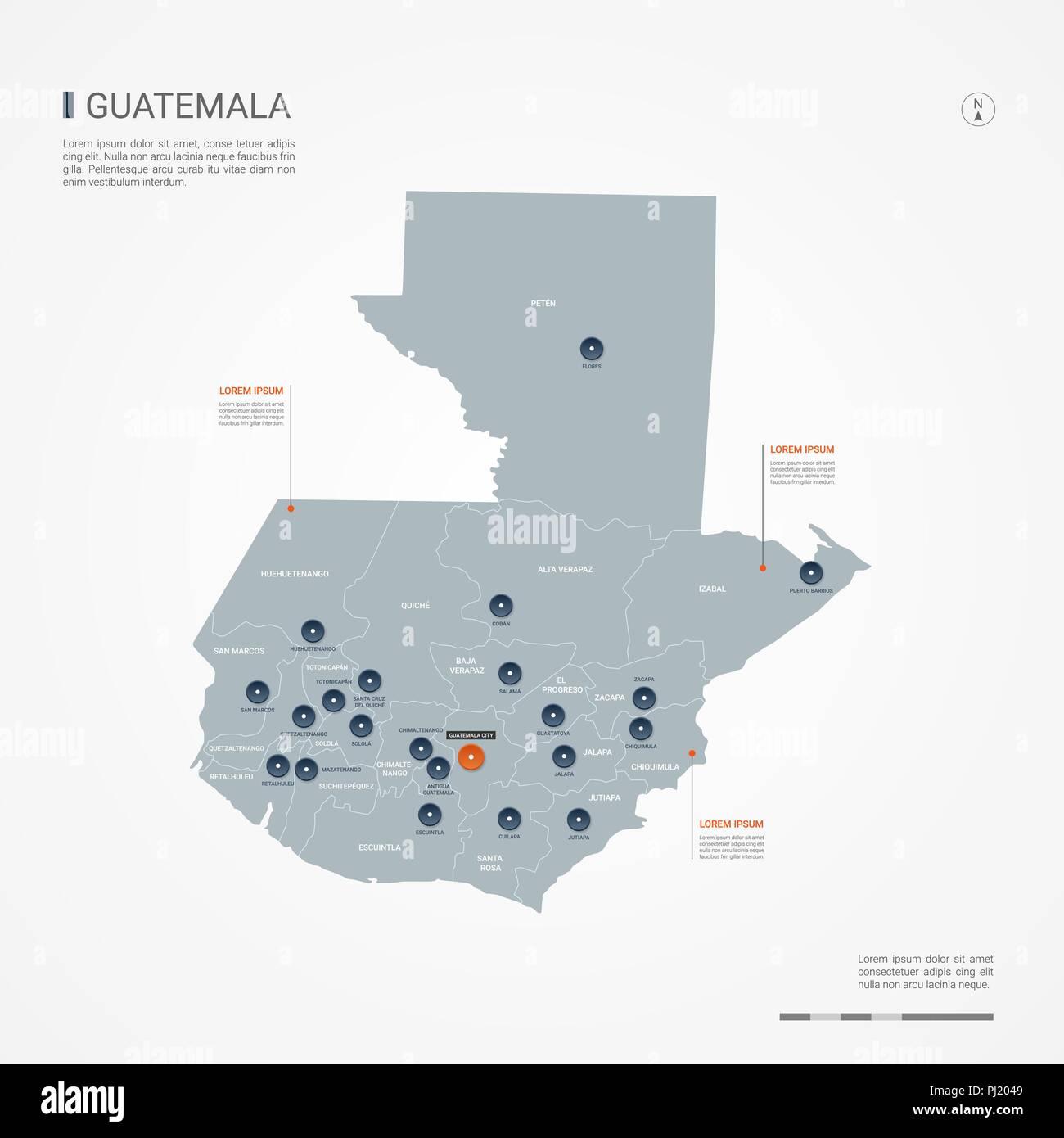 Guatemala Karte.Guatemala Karte Mit Grenzen Städte Kapital Und Administrativen