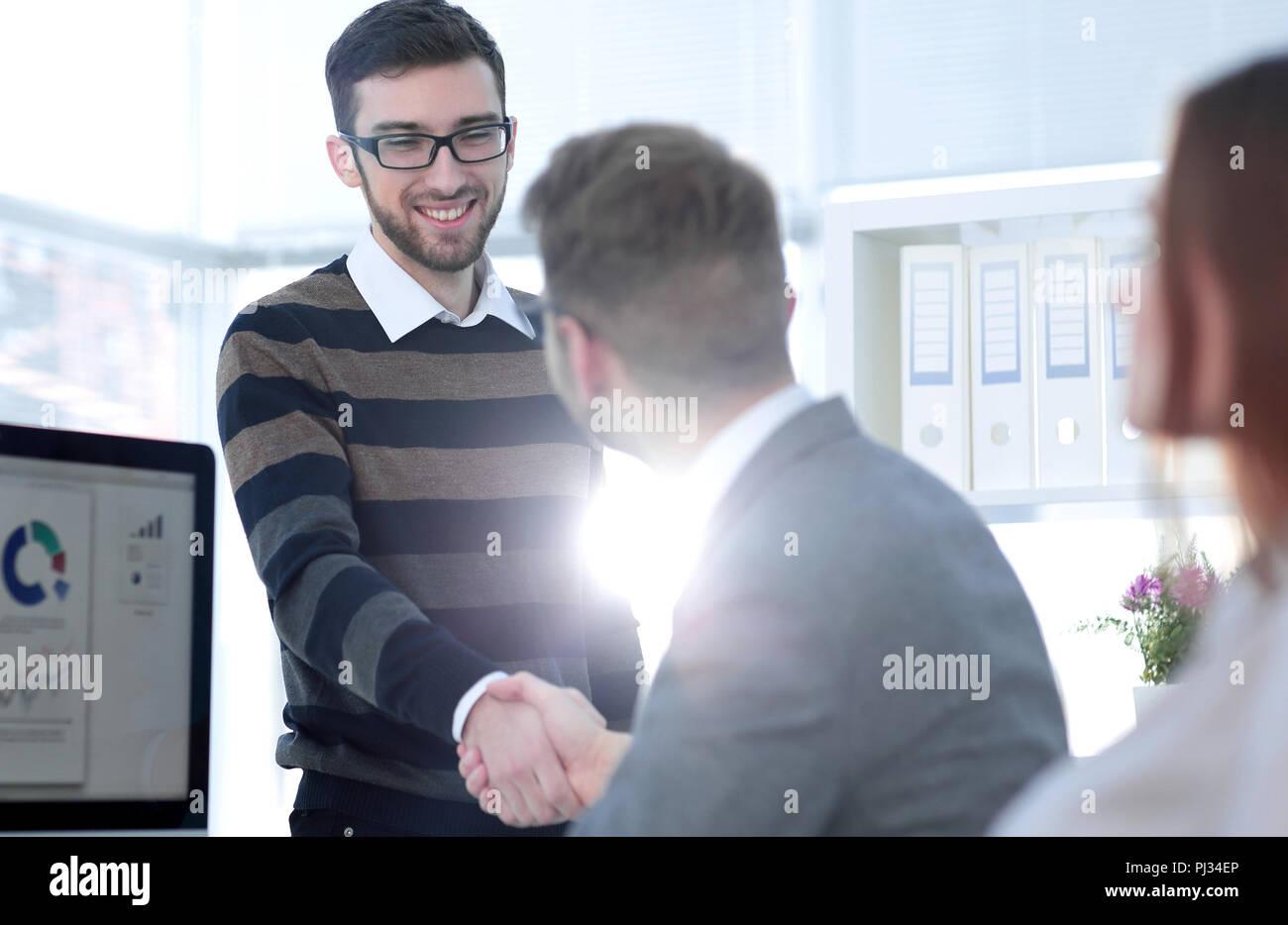 Handshake Manager und den Client Stockbild