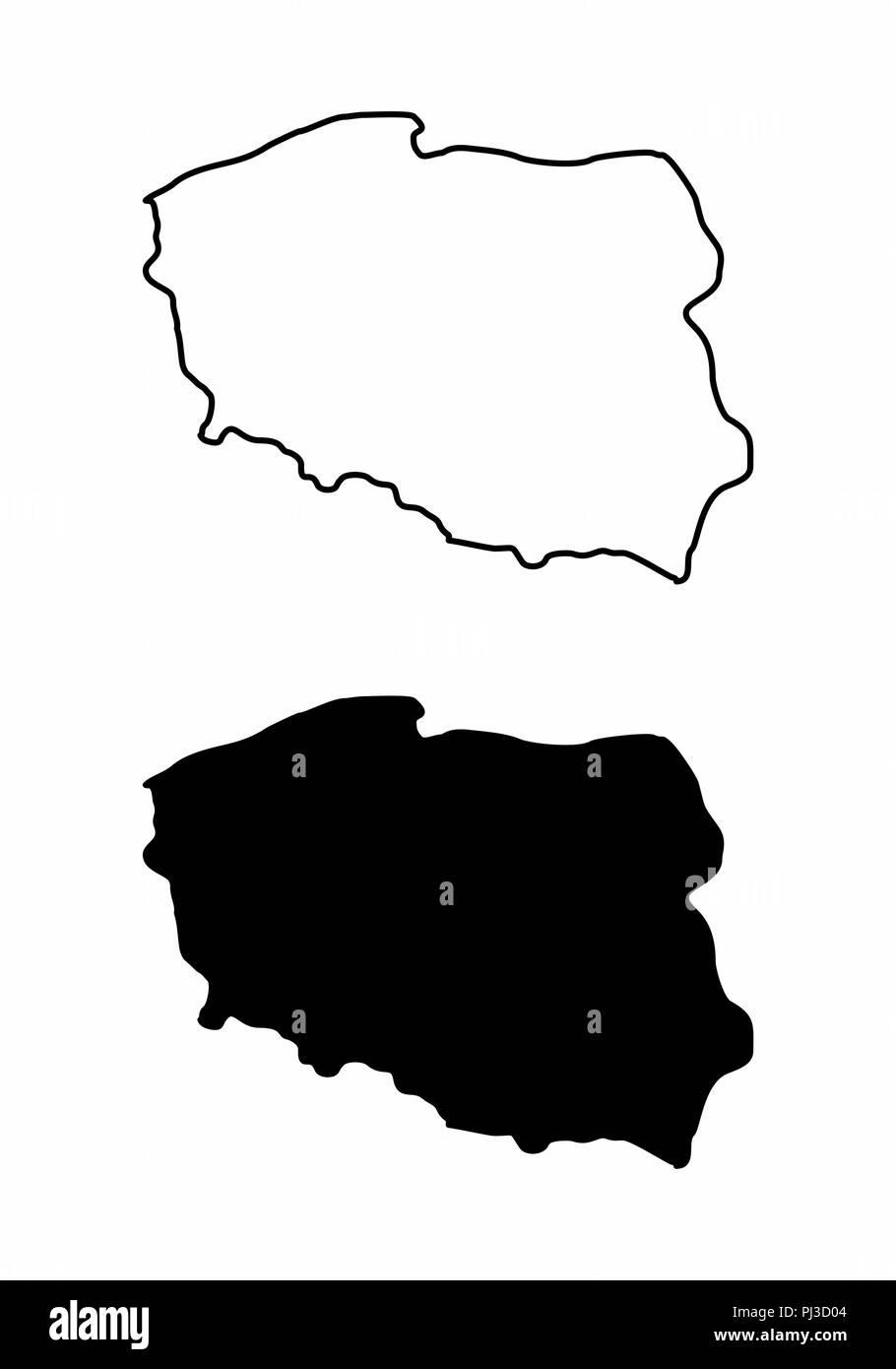 Polen Karte Umriss.Vereinfachte Karten Von Polen Schwarze Und Weisse Umrisse
