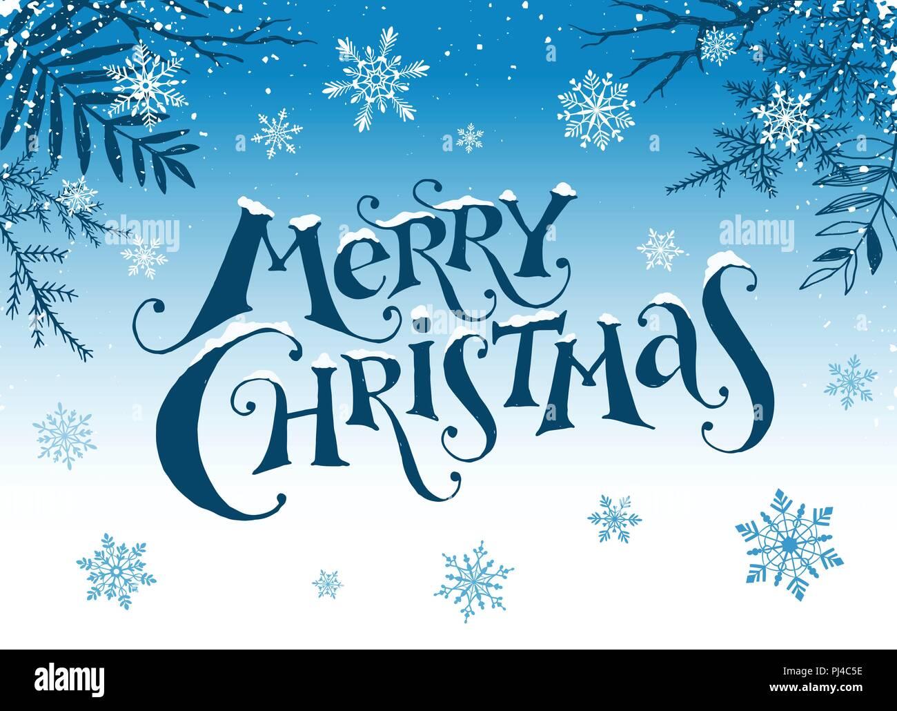 Frohe Weihnachten An Freunde.Drei Lustige Schneemänner In Mützen Schals Und Handschuhe Auf
