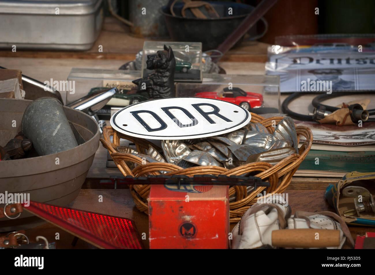 Ddr-Nostalgie für die DDR zu einem Trabant Rally in Zwickau, Sachsen, Deutschland. Stockbild