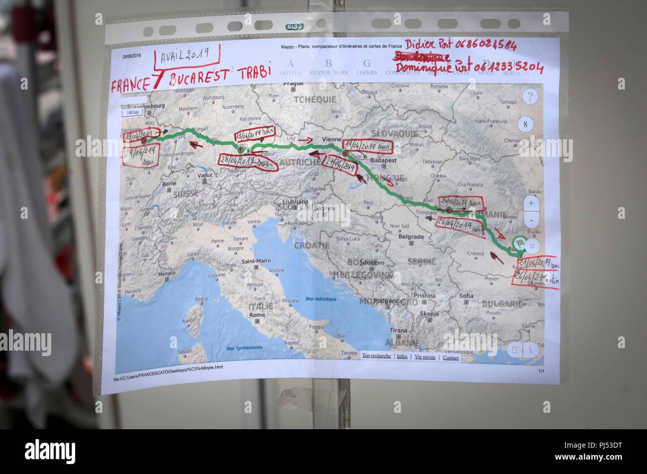 Zwickau Karte.Eine Karte Von Einem Trabant Fährt An Der Zwickau Trabant Club
