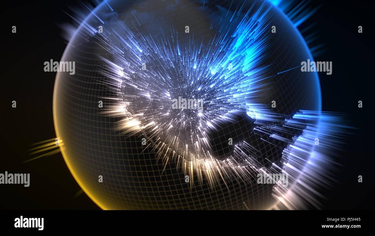 Dunkle Erde Globus mit glühenden Details und Lichtstrahlen. 3D-Darstellung Stockbild