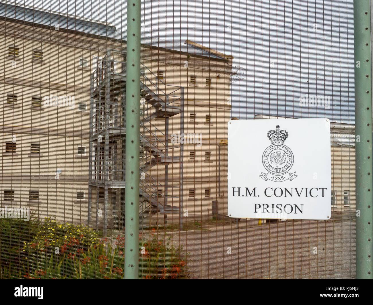 Zelle Bausteine und Gebäude in Peterhead Gefängnis, Schottland. Ursprünglich im Jahre 1888 eröffnet, das Gefängnis geschlossen in 2013 und ist heute als Museum erhalten. Stockfoto