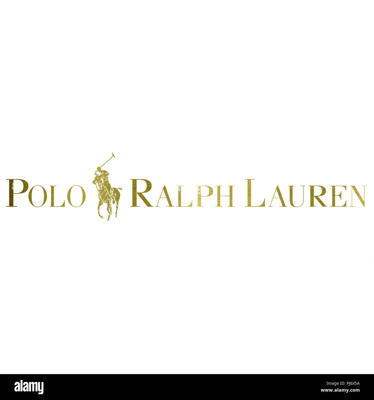 96a38b0058d9f2 Polo Ralph Lauren logo Golden metallische fashion Luxus Marke Kleidung  Abbildung Stockbild