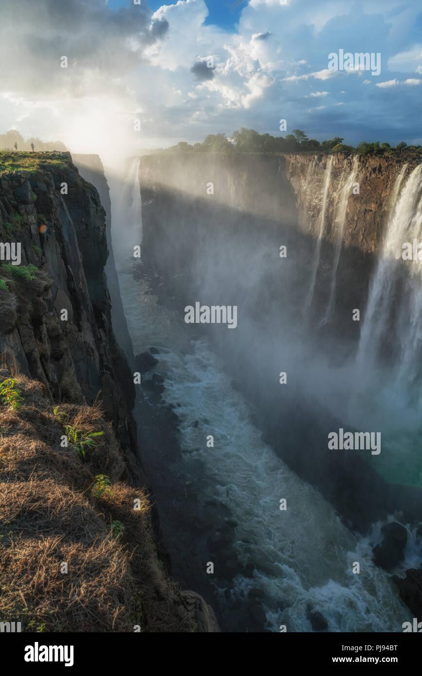 Die Leistungsstarke fällt, Victoria Falls, Simbabwe Stockbild