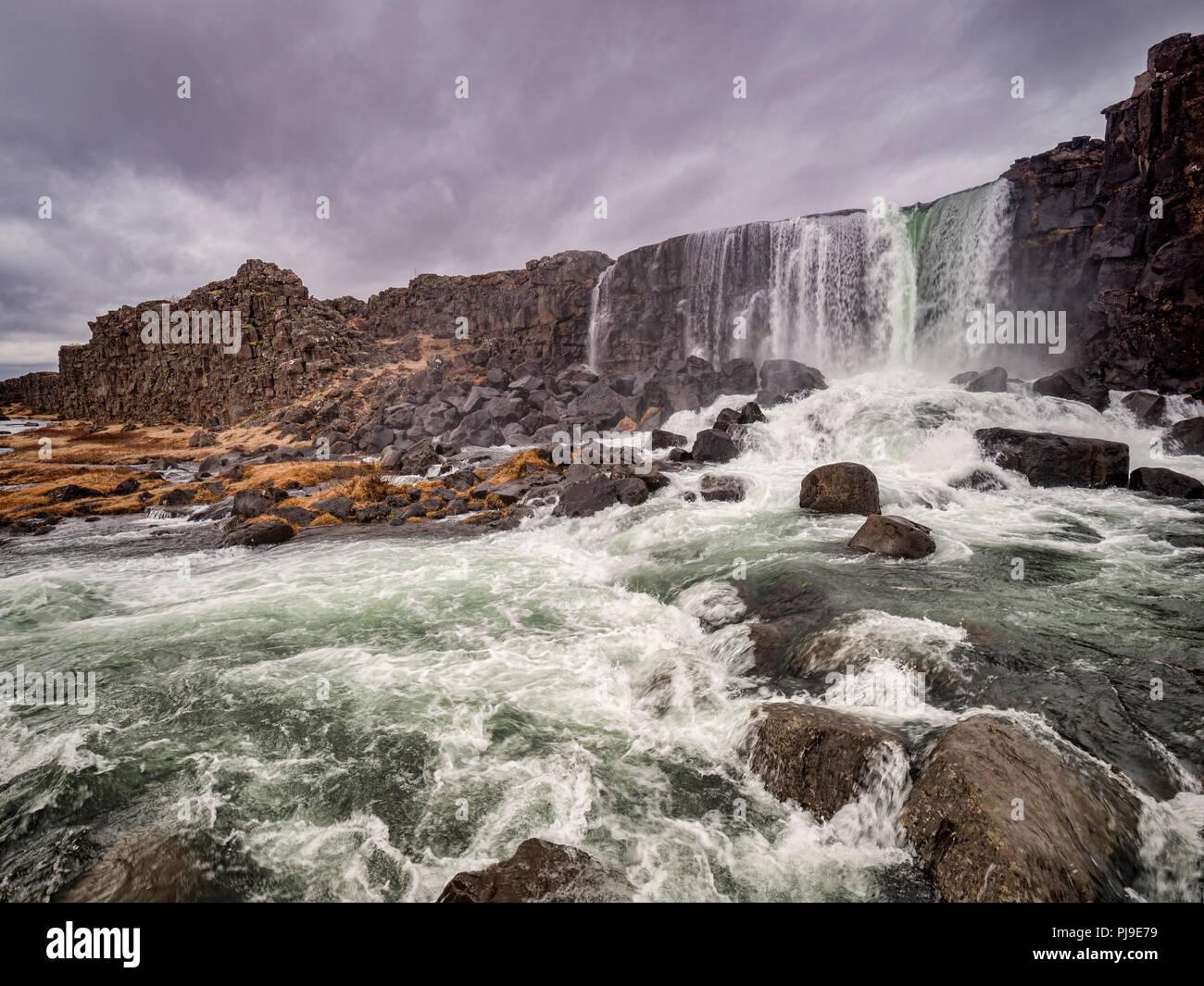 Oxararfoss Wasserfall bei Thingvellir, Island, eine der größten Attraktionen auf der Golden Circle touristische Route. Stockbild