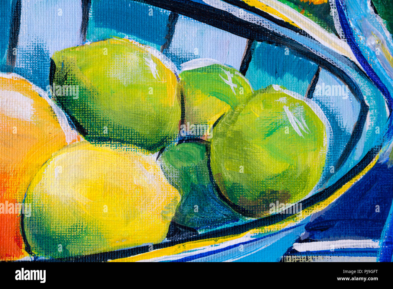 Details zu Acryl Gemälde zeigen, Farbe, Texturen und Techniken. Eine Obstschale mit Zitrusfrüchten, Limetten und eine Zitrone. Stockbild